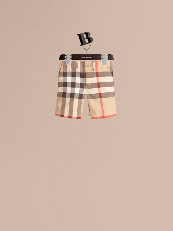 Check Cotton Chino Shorts in Classic - Boy | Burberry Canada