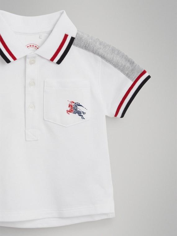Stripe Detail Cotton Piqué Polo Shirt in White | Burberry Singapore - cell image 3