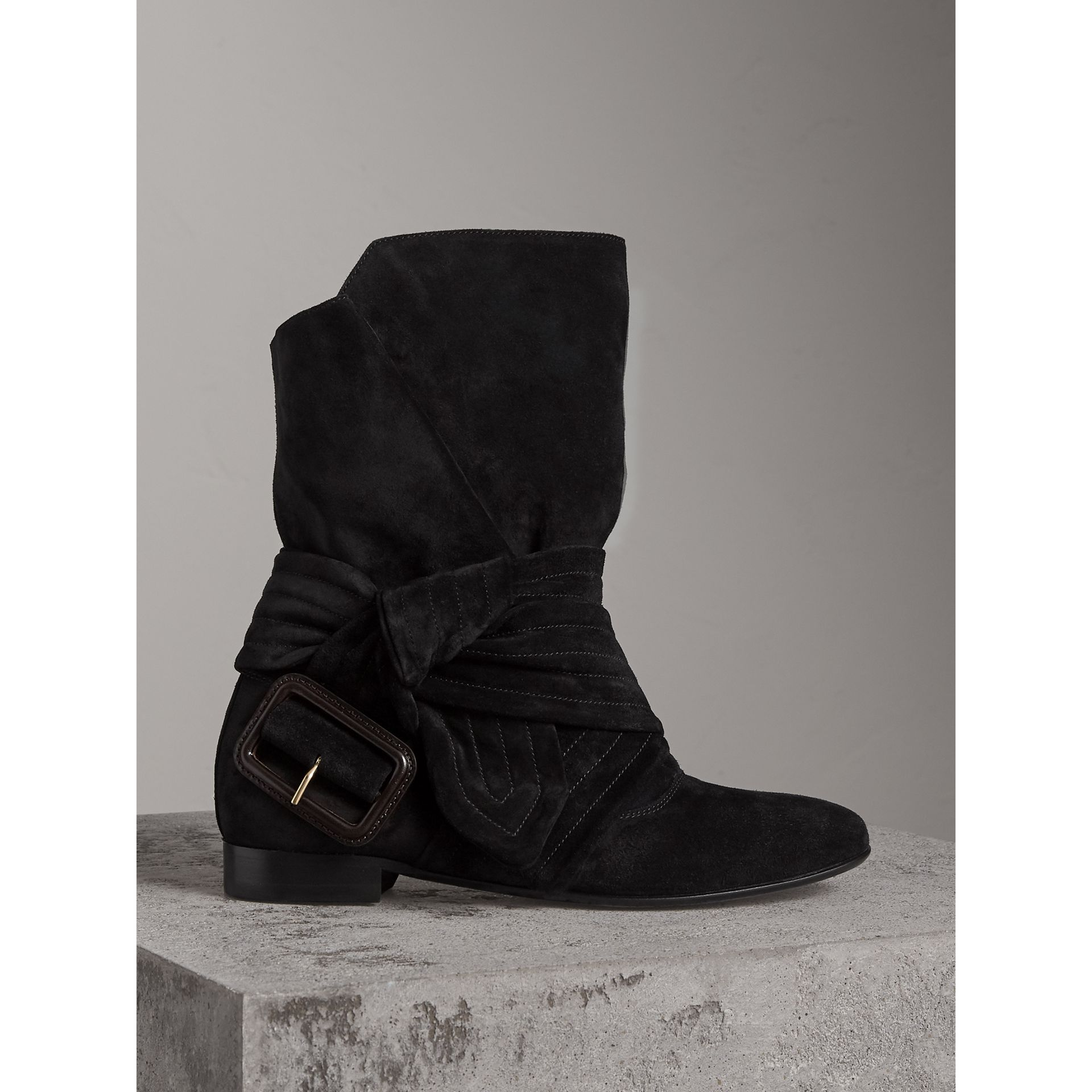 Belt Detail Suede Boots in Black - Women | Burberry United States - gallery image 0