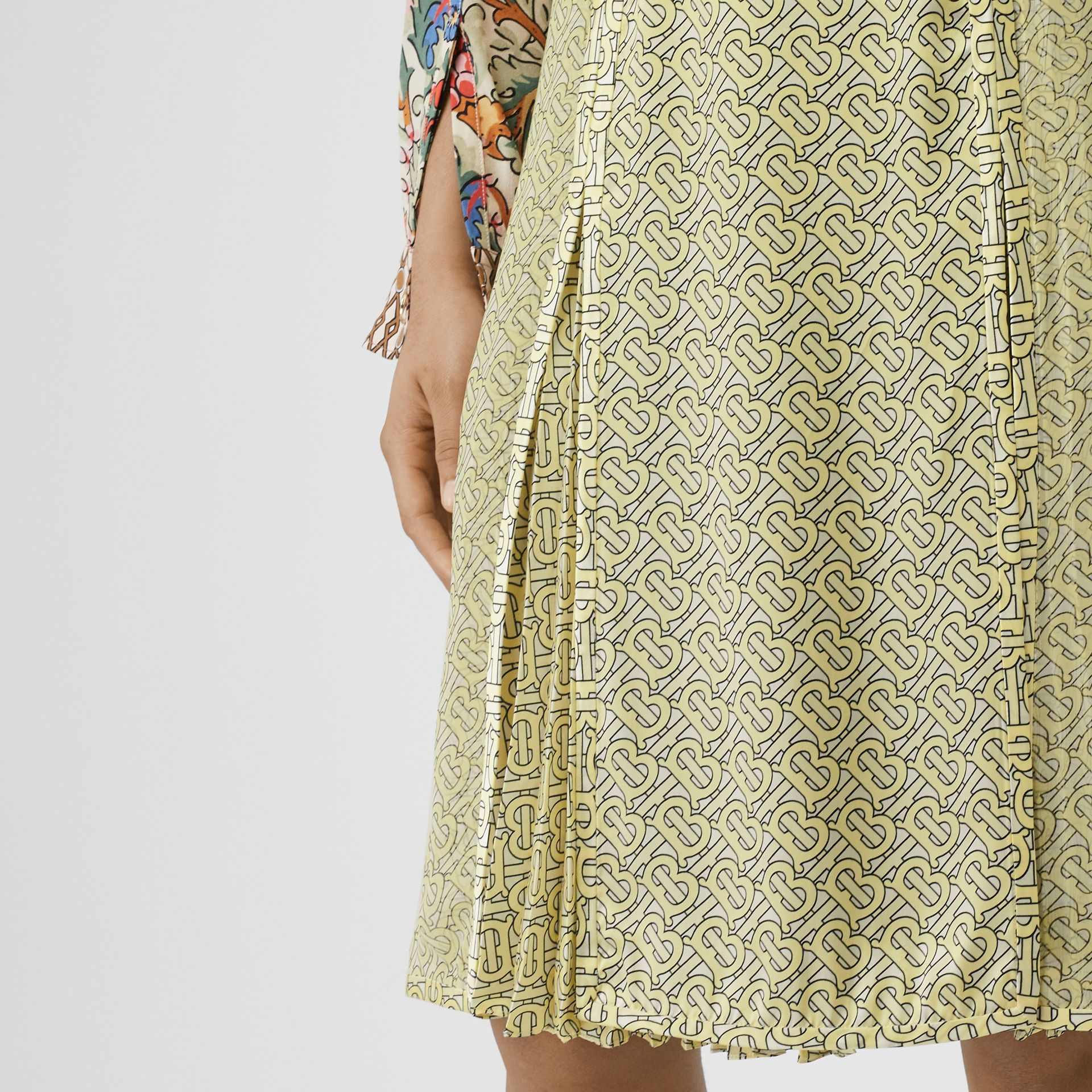 Monogram Print Silk Pleated Skirt in Pale Yellow - Women | Burberry - gallery image 5