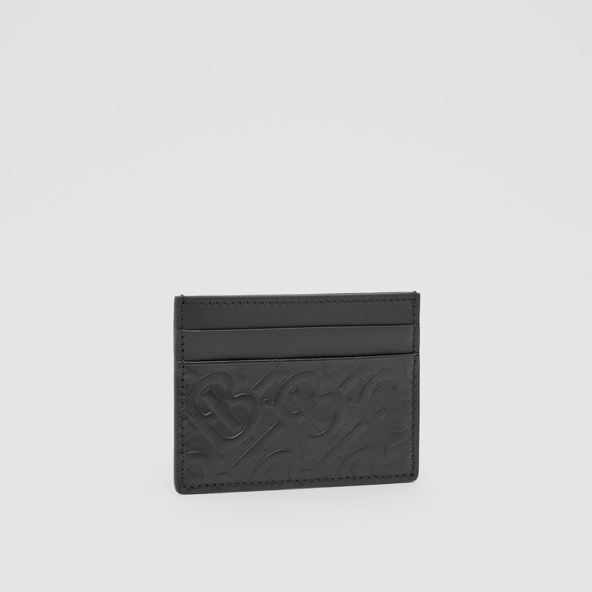 Monogram Leather Card Case in Black | Burberry - gallery image 3