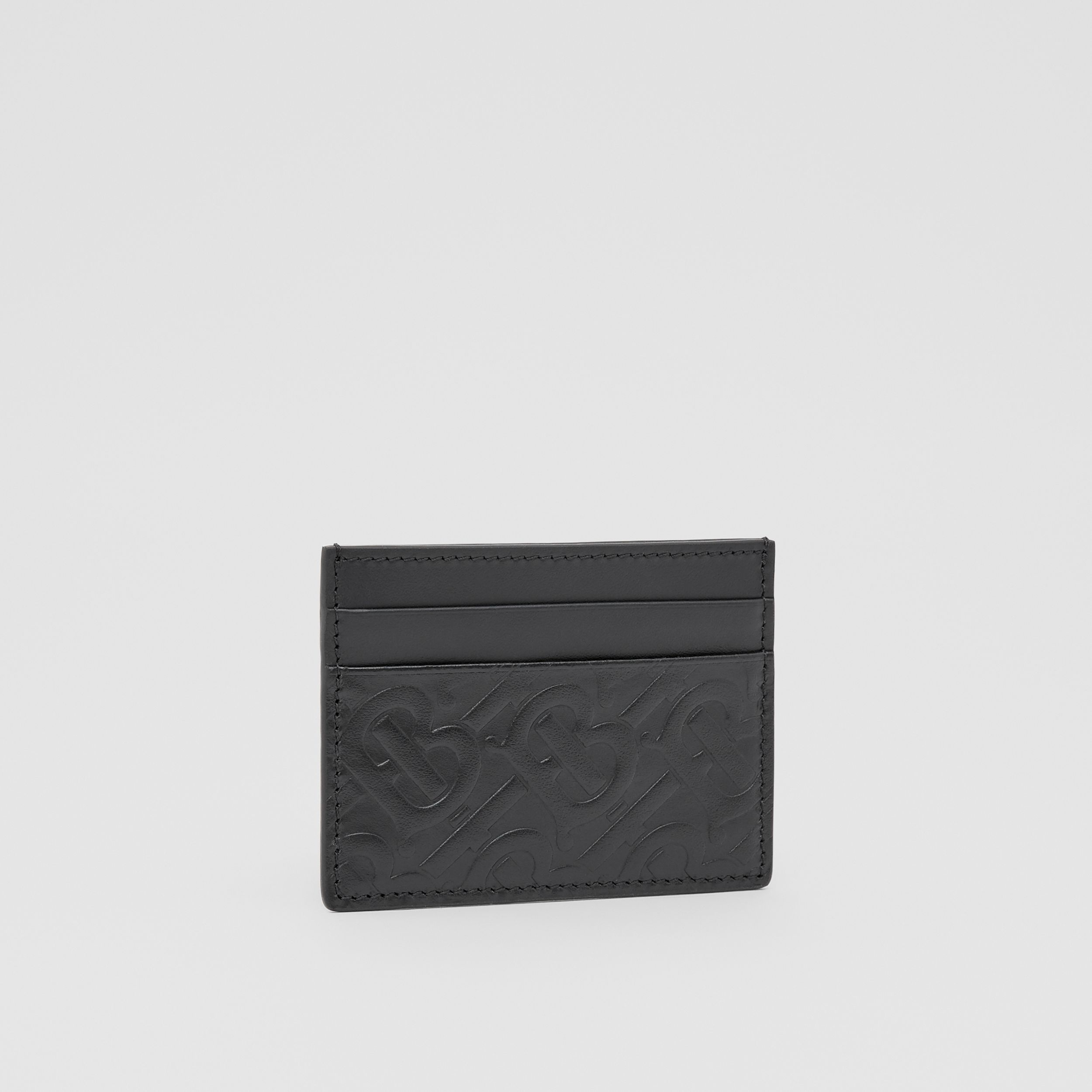 Monogram Leather Card Case in Black | Burberry Canada - 4