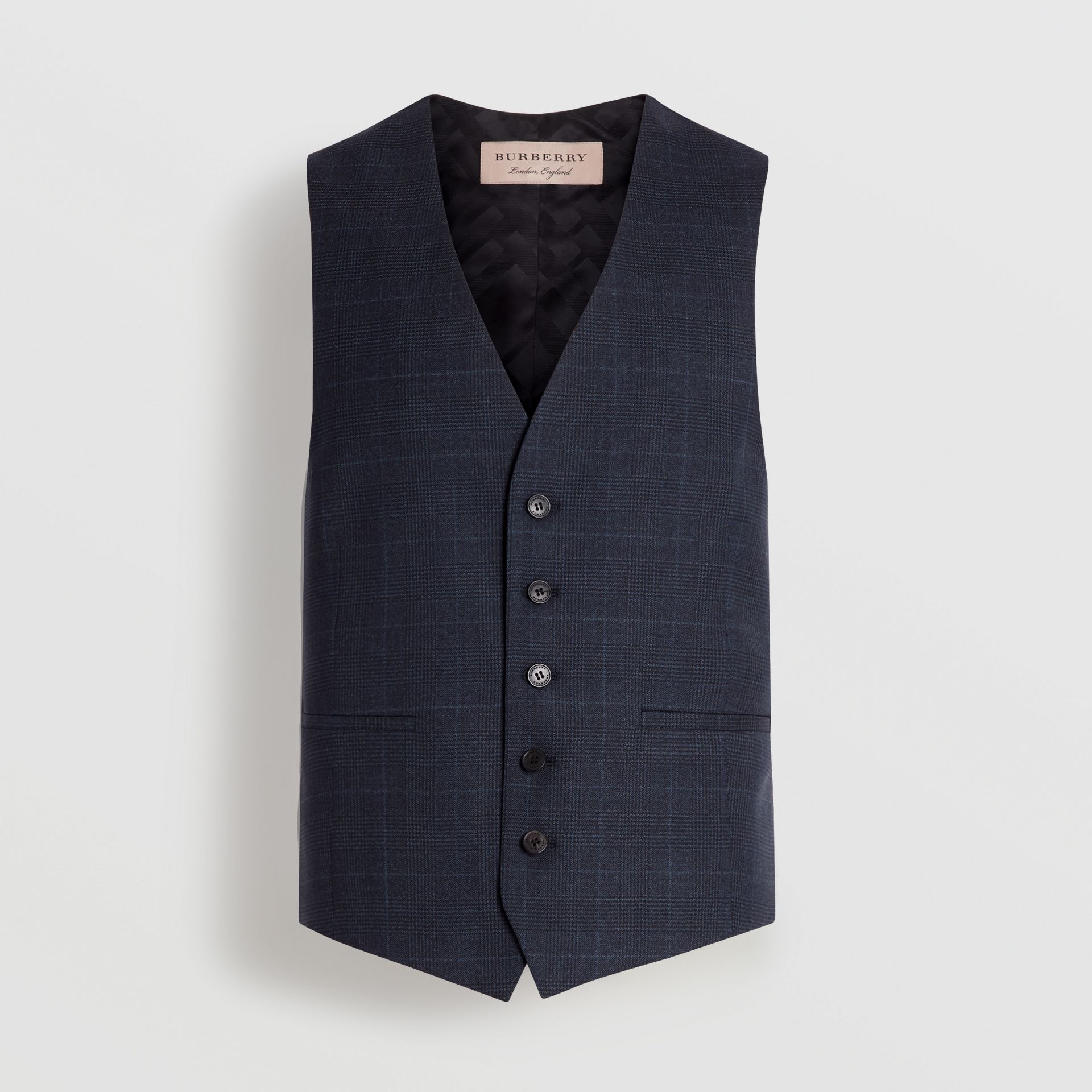 Classic Fit Check Wool Three-piece Suit in Bright Navy - Men | Burberry - gallery image 8
