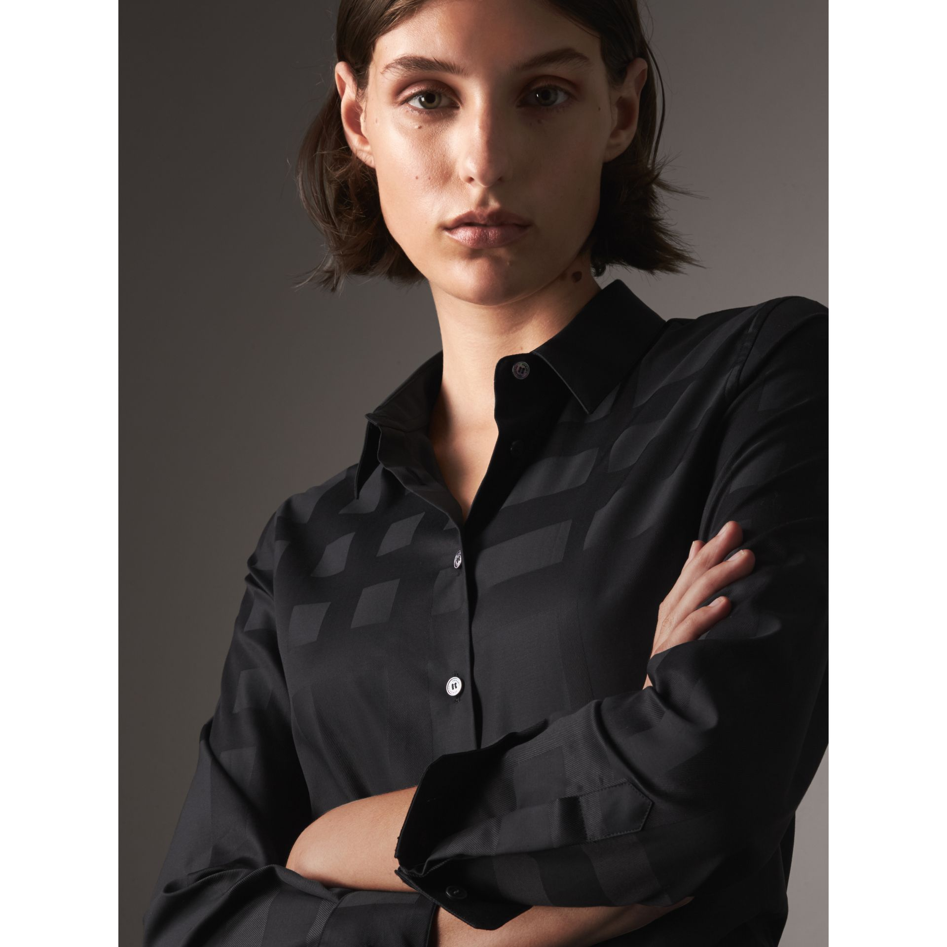 Check Jacquard Cotton Shirt in Black - Women | Burberry Australia - gallery image 2
