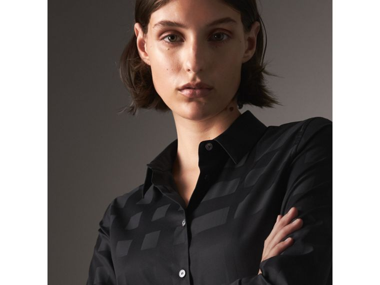 Check Jacquard Cotton Shirt in Black - Women | Burberry Australia - cell image 1
