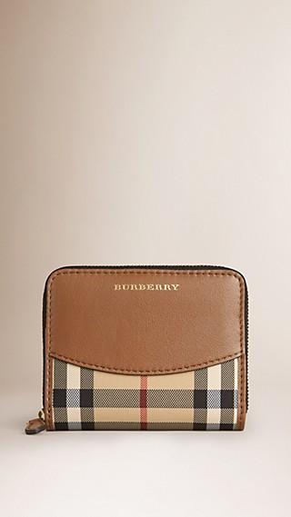 Petit portefeuille zippé en tissu Horseferry check et cuir