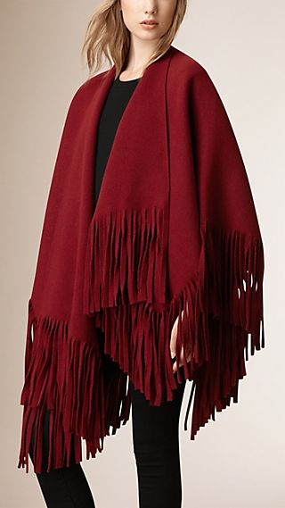 Fringed Felted Wool Cashmere Poncho