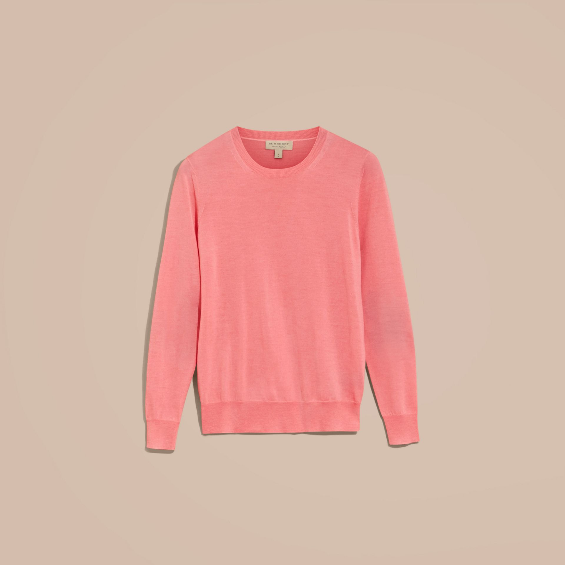 Pale rose pink Check Detail Merino Wool Crew Neck Sweater Pale Rose Pink - gallery image 4