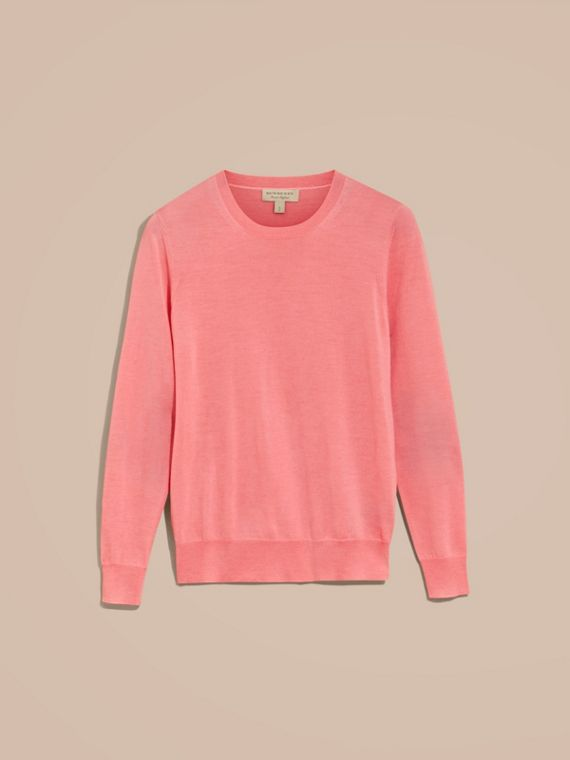 Check Detail Merino Wool Crew Neck Sweater in Pale Rose Pink - Women | Burberry - cell image 3