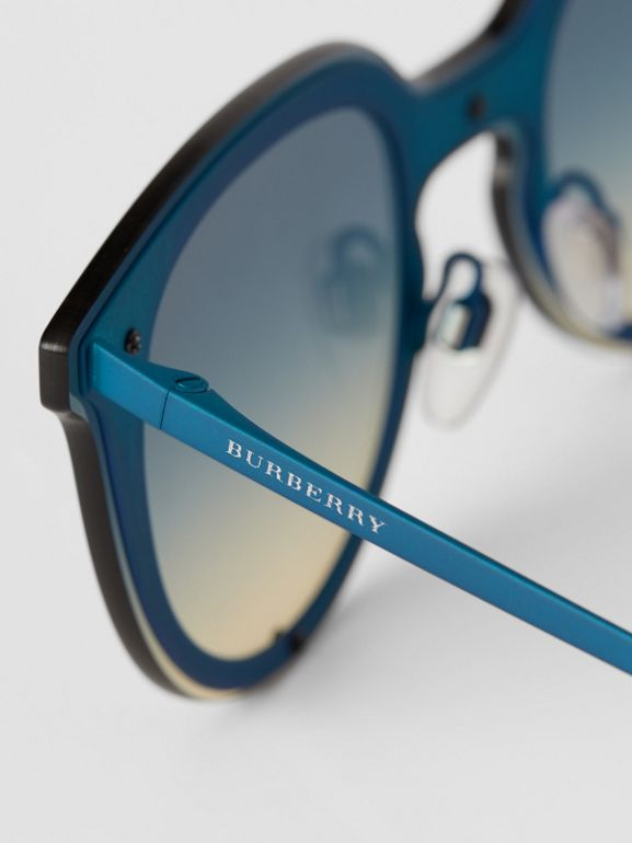 Keyhole Round Frame Shield Sunglasses in Blue - Women | Burberry United States - cell image 1