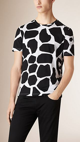 Angular Animal Print Cotton T-Shirt