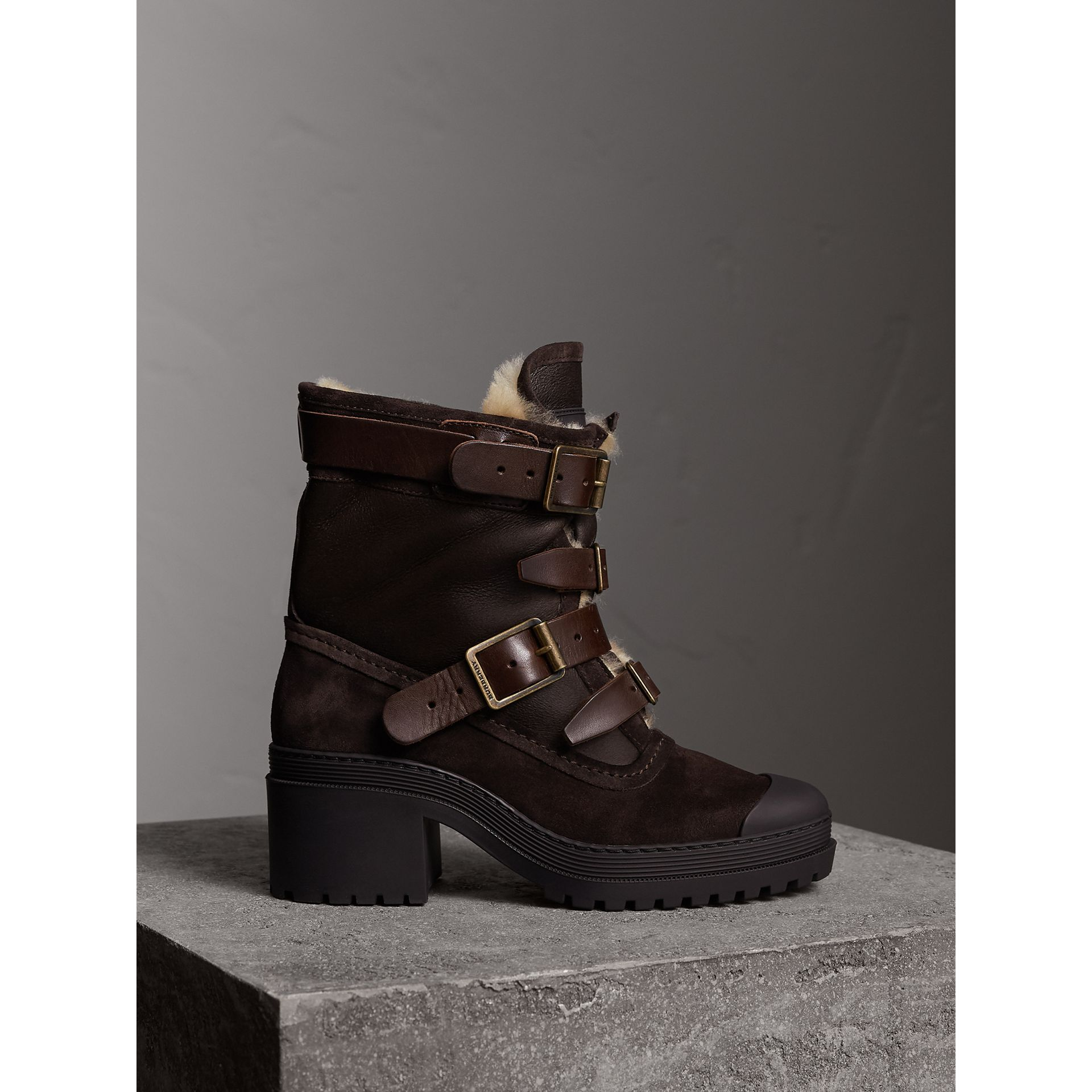 Buckle Detail Suede and Shearling Boots in Charcoal Brown - Women | Burberry - gallery image 0