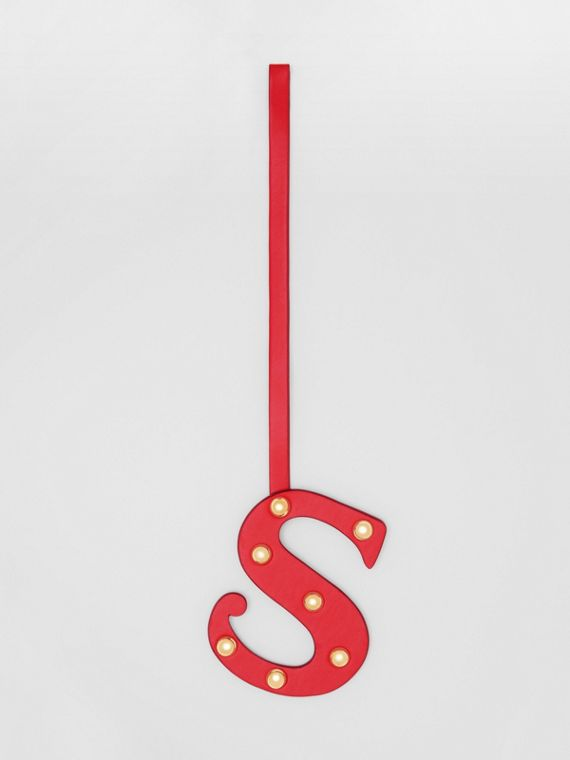 'S' Studded Leather Alphabet Charm in Red/light Gold
