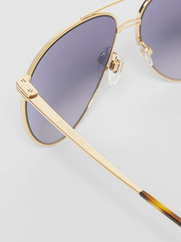 Top Bar Detail Pilot Sunglasses in Gold - Men | Burberry - cell image 1