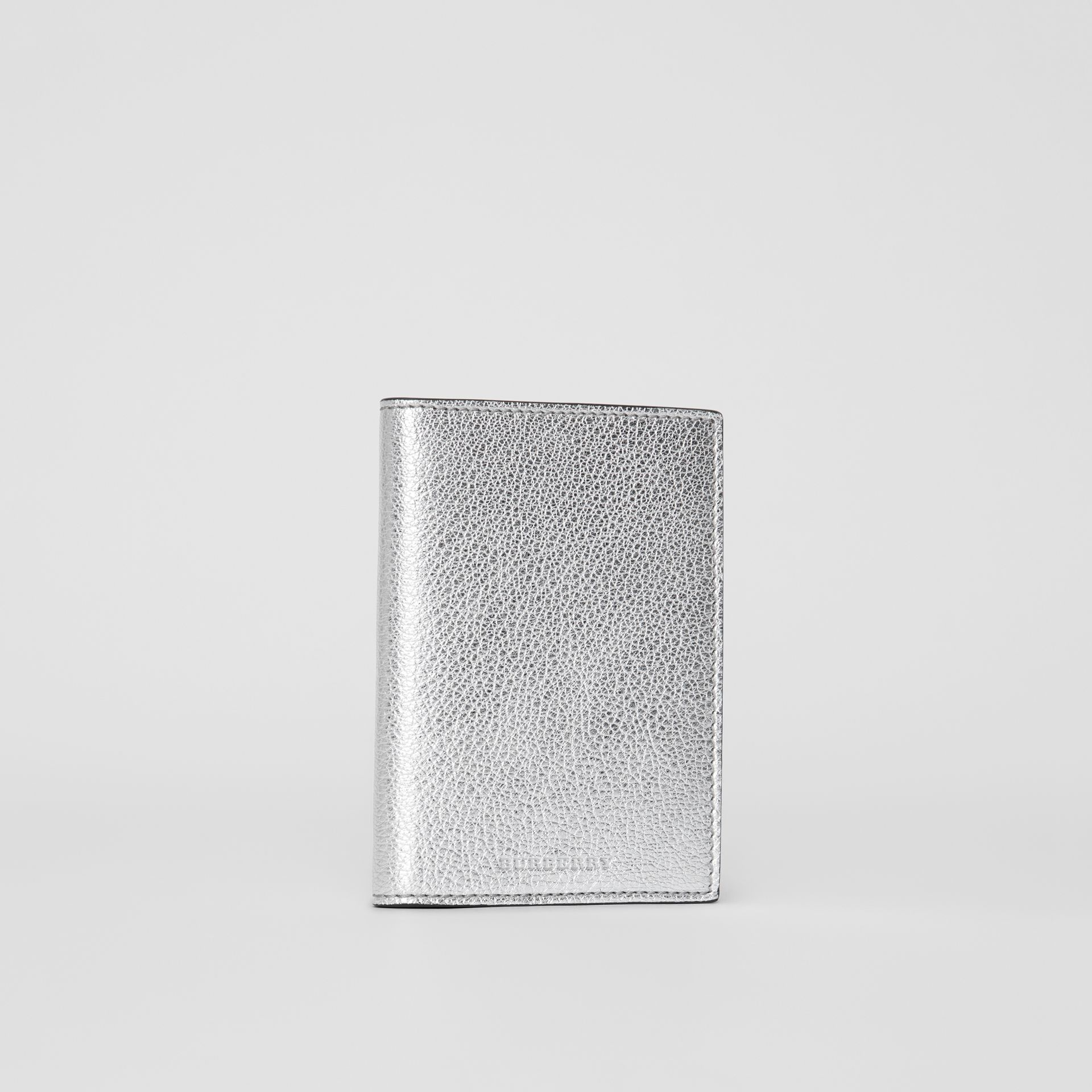 Metallic Leather Passport Holder in Silver - Women | Burberry United Kingdom - gallery image 3