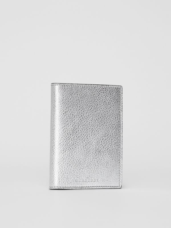 Metallic Leather Passport Holder in Silver - Women | Burberry - cell image 3