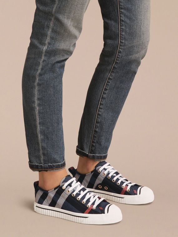 Check Linen Cotton Trainers in Ink Blue - Women | Burberry - cell image 2