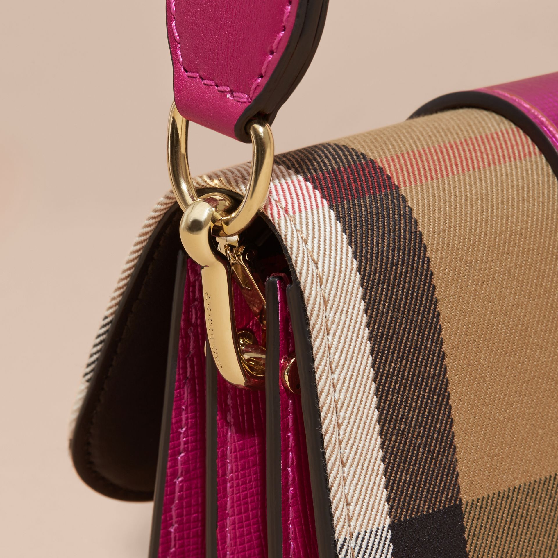 The Small Buckle Bag in House Check and Leather in Bright Pink - gallery image 2