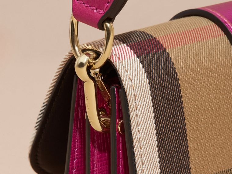 The Small Buckle Bag in House Check and Leather in Bright Pink - cell image 1