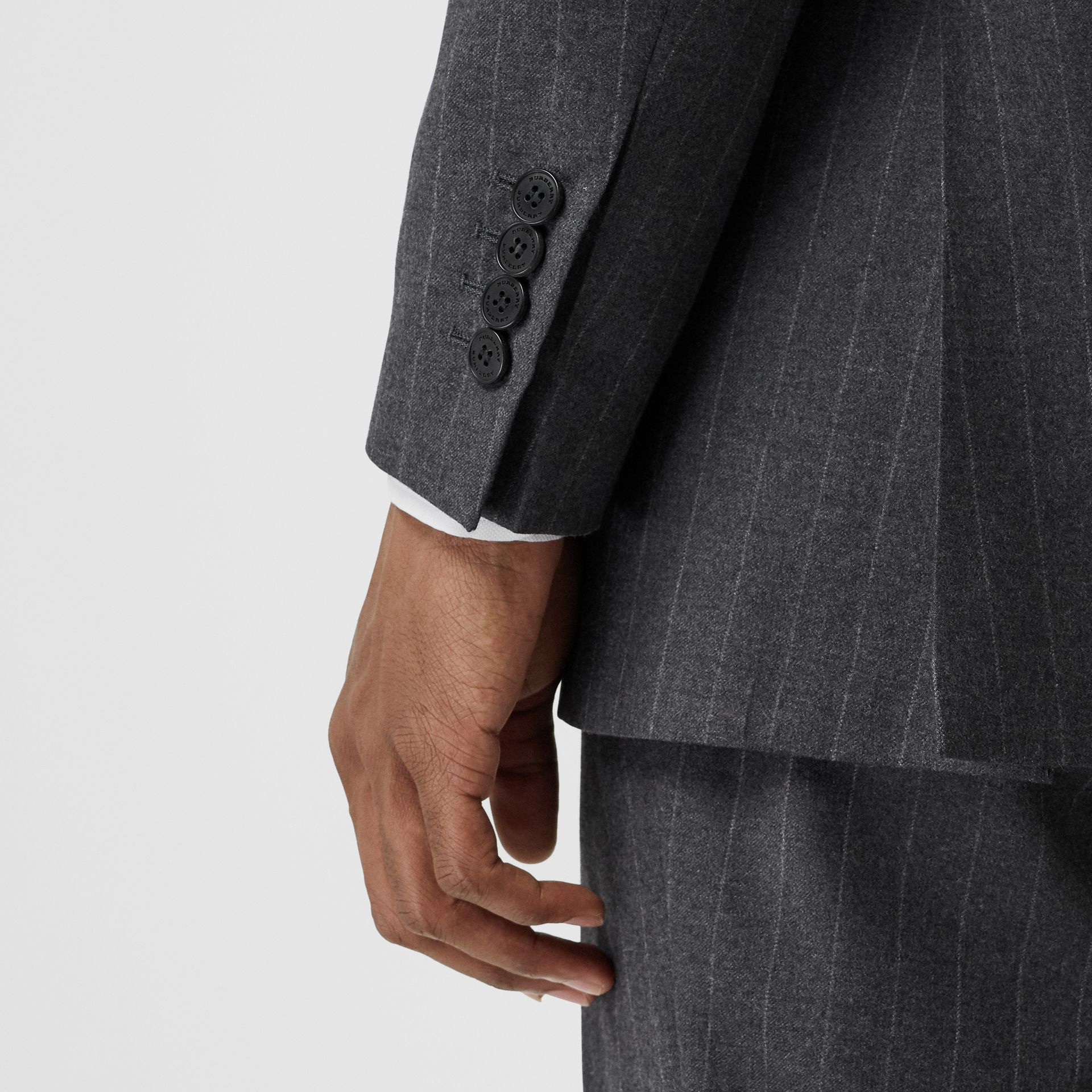 Slim Fit Pinstriped Wool Cashmere Suit in Mid Grey - Men | Burberry - gallery image 4