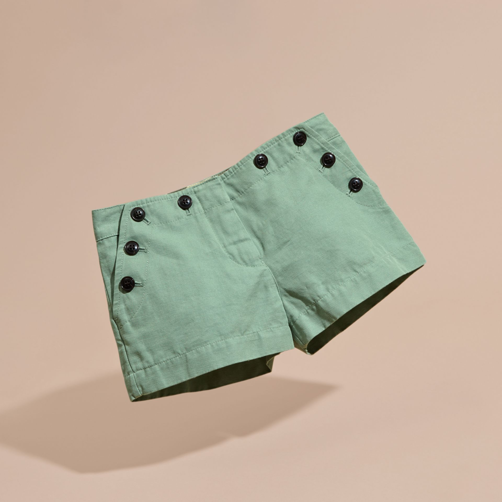 Pale eucalyptus Button Detail Cotton Linen Shorts - gallery image 3