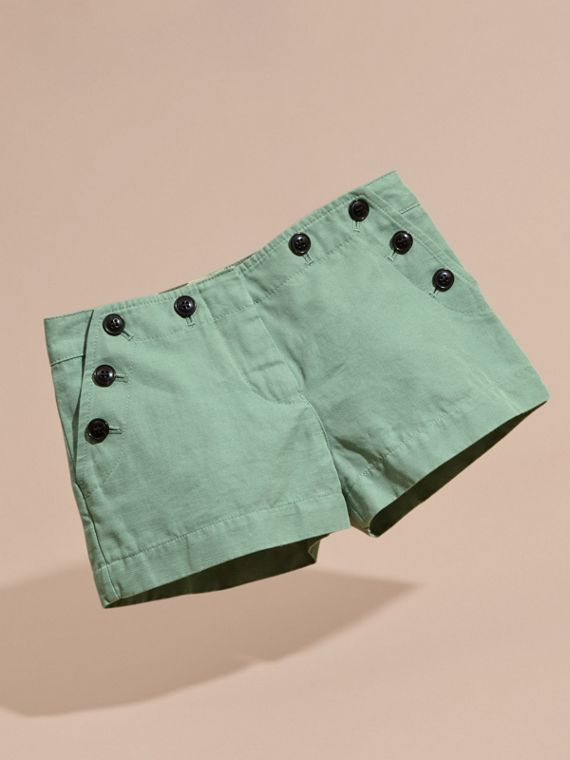 Button Detail Cotton Linen Shorts - cell image 2