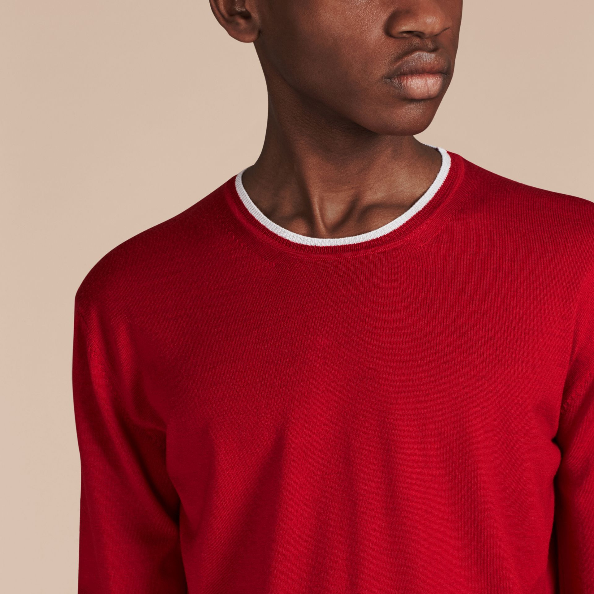 Cranberry  red/white Lightweight Crew Neck Wool Sweater - gallery image 4