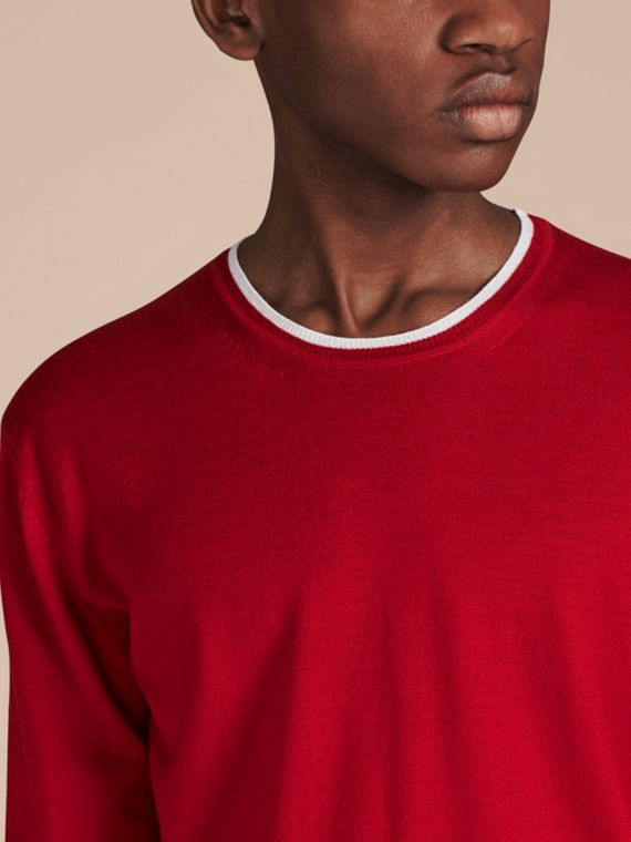 Cranberry  red/white Lightweight Crew Neck Wool Sweater - cell image 3