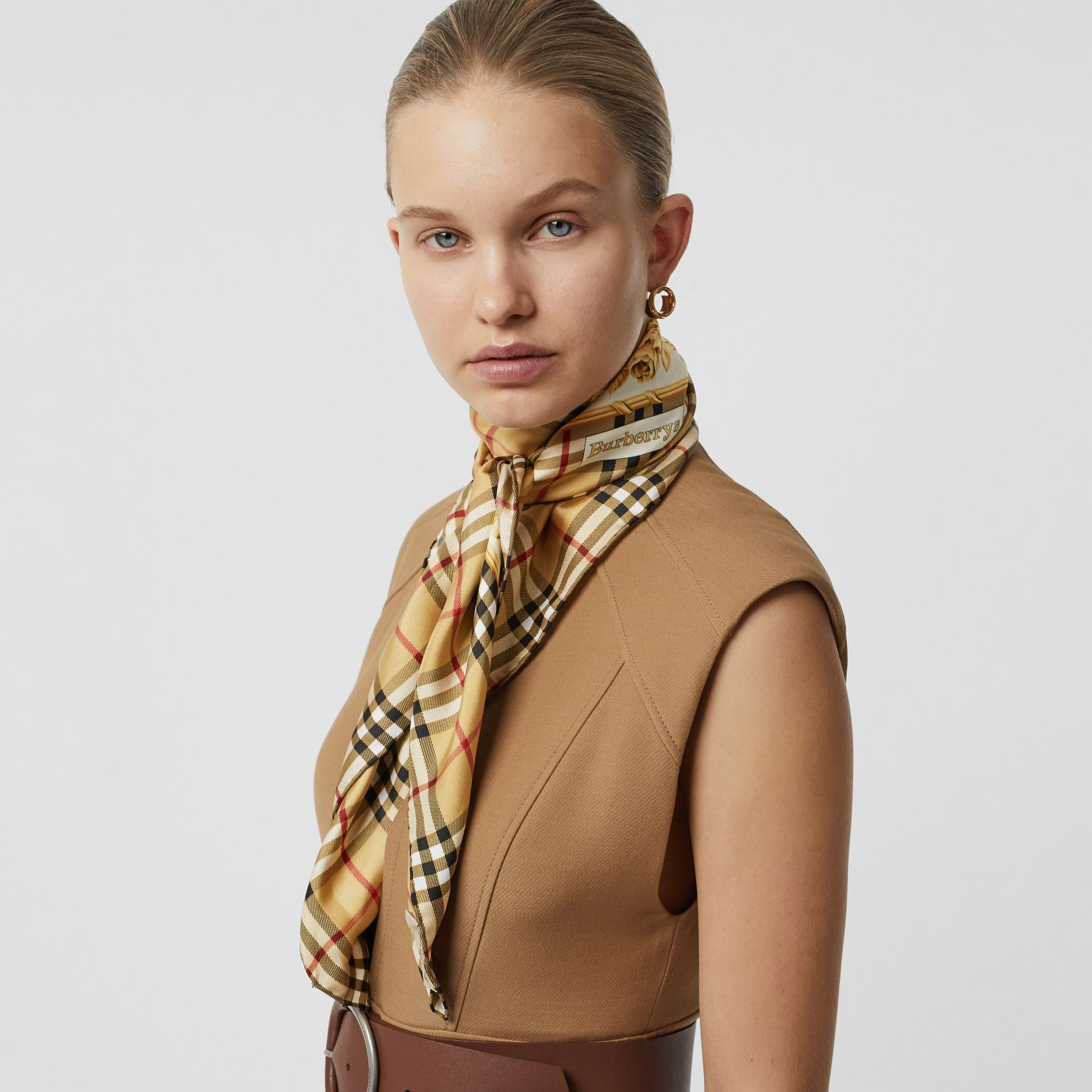 Archive Scarf Print Silk Square Scarf in Antique Yellow - Women | Burberry - gallery image 3
