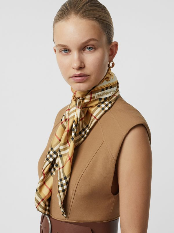 Archive Scarf Print Silk Square Scarf in Antique Yellow - Women | Burberry - cell image 3
