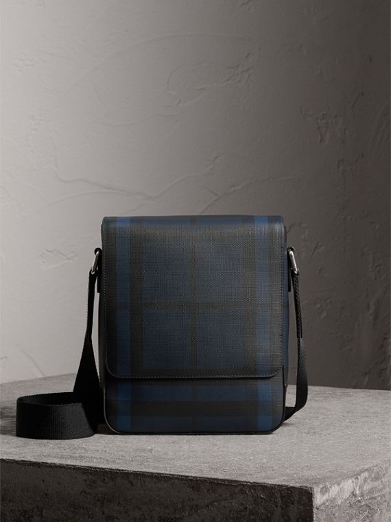 London Check Crossbody Bag in Navy/black - Men | Burberry