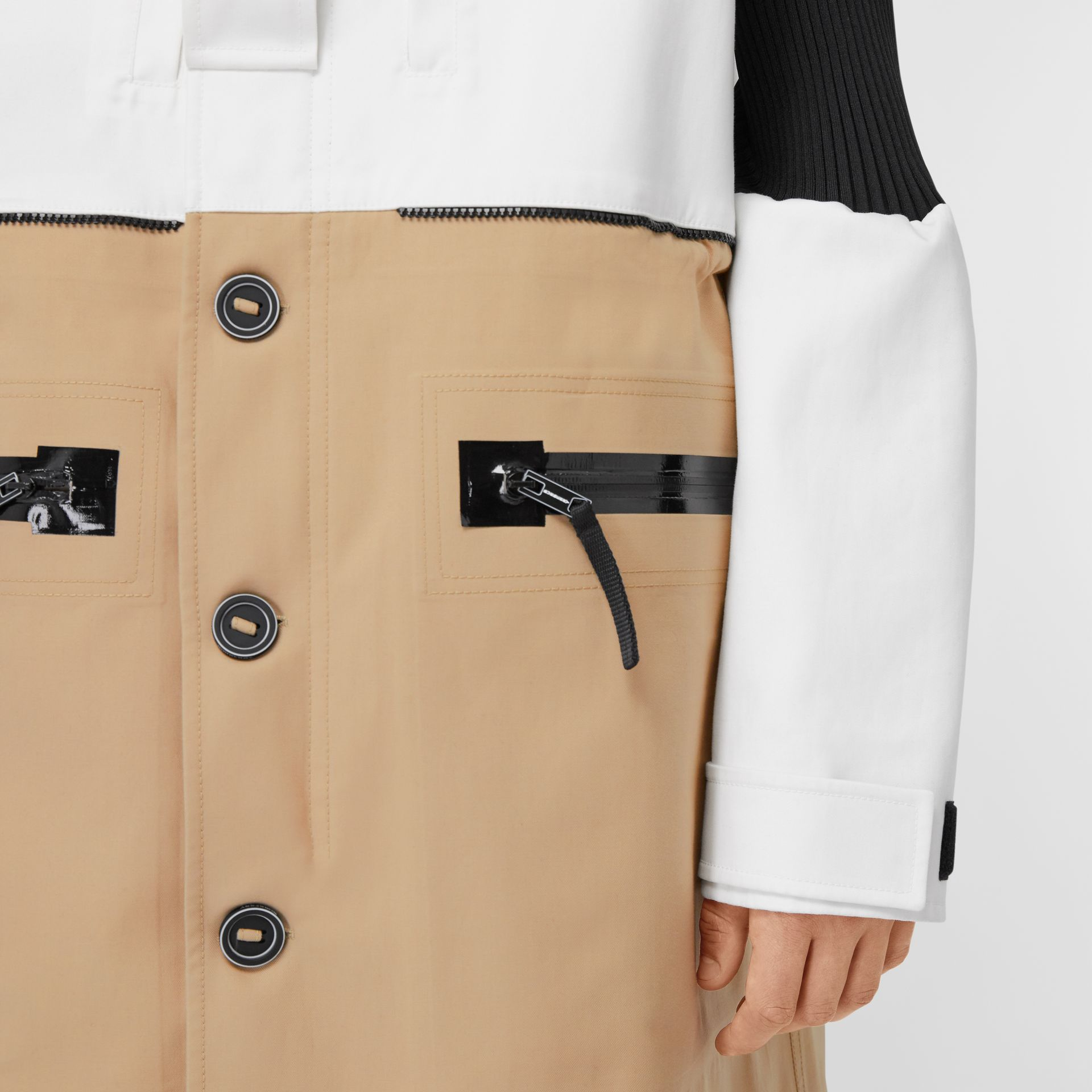 Detachable Hood Cotton Reconstructed Car Coat in Optic White | Burberry - gallery image 4