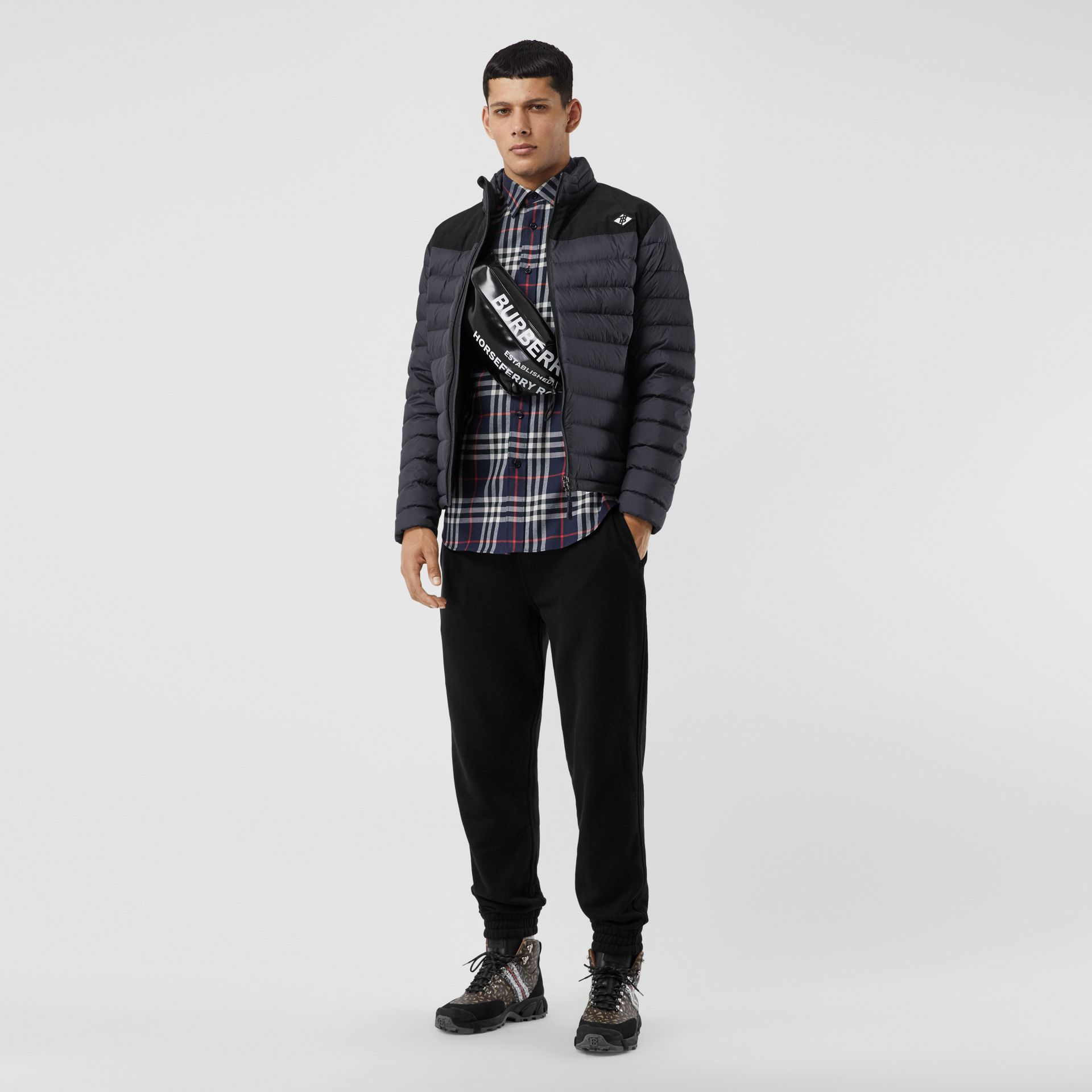 Logo Graphic Lightweight Puffer Jacket in Navy - Men | Burberry - gallery image 0