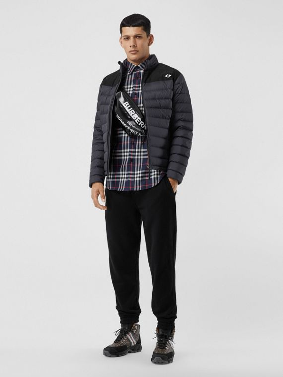 Logo Graphic Lightweight Puffer Jacket in Navy