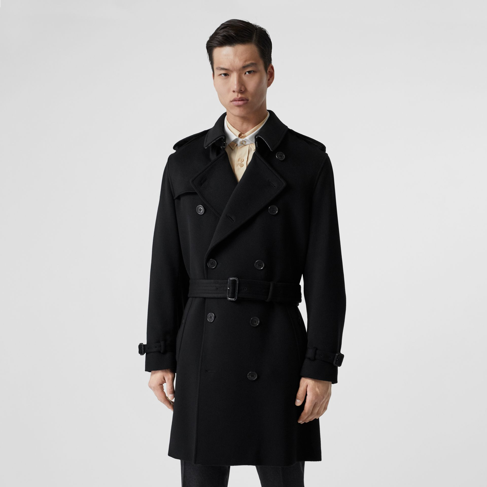 Cashmere Trench Coat in Black - Men | Burberry Australia - gallery image 6
