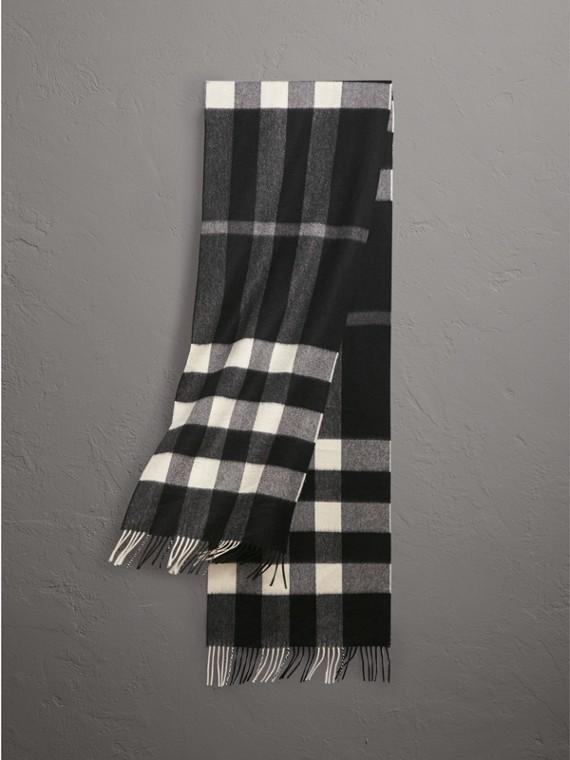 Классический шарф из кашемира в клетку (Черный, Клетка)