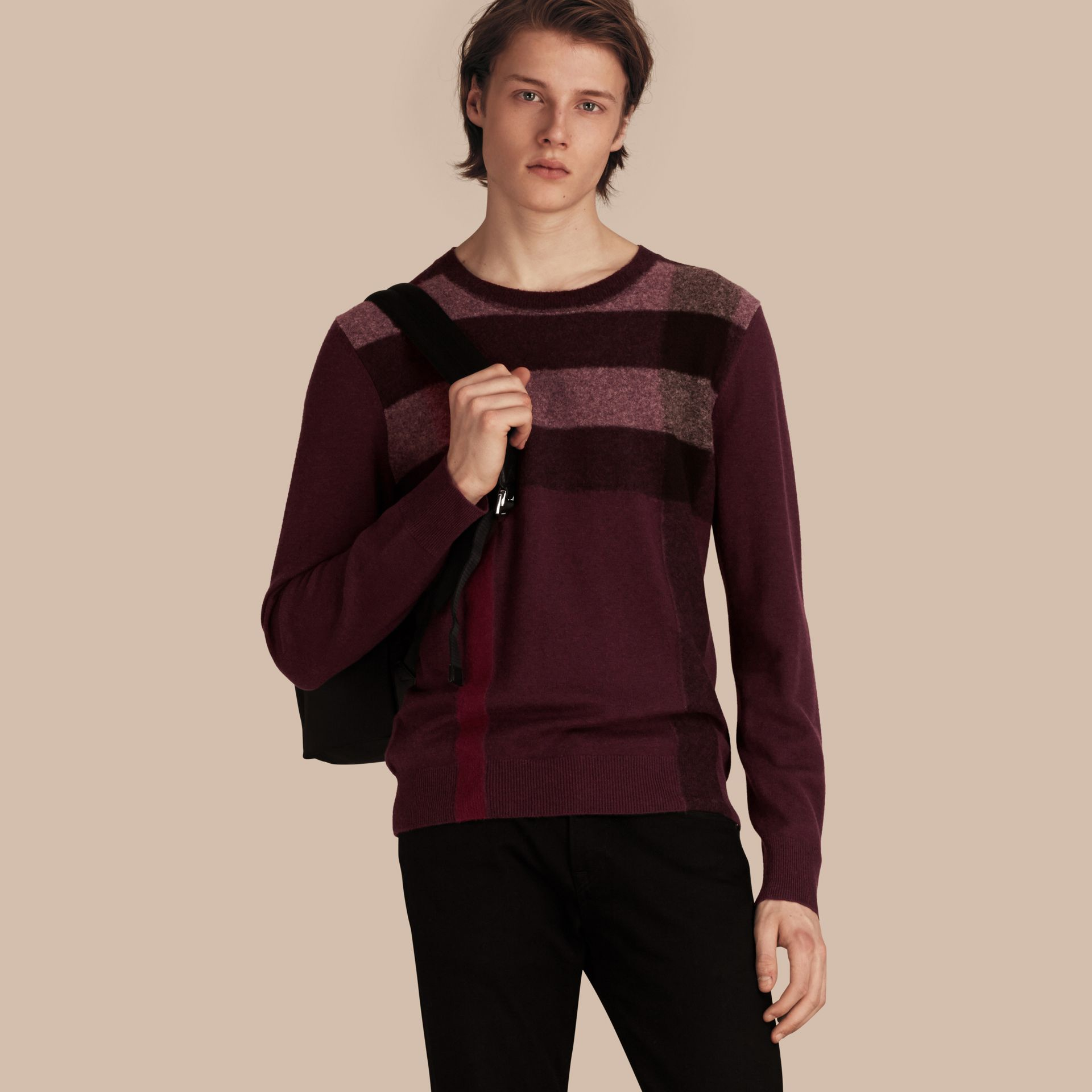 Graphic Check Cashmere Cotton Sweater in Burgundy Red - gallery image 1
