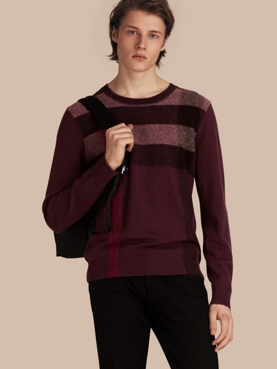 Graphic Check Cashmere Cotton Sweater in Burgundy Red