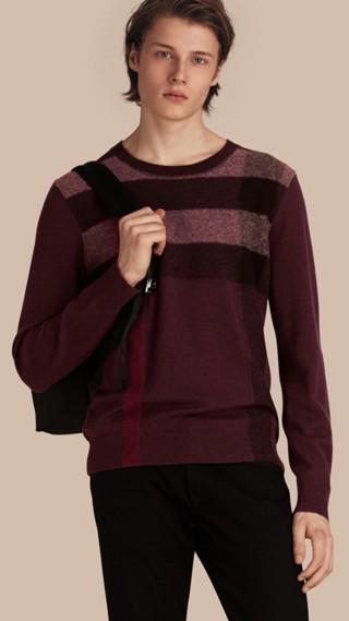Pullover in cashmere e cotone con motivo check grafico
