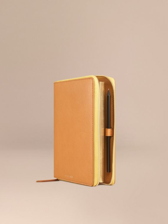 Ziparound Grainy Leather A5 Notebook in Ochre Yellow