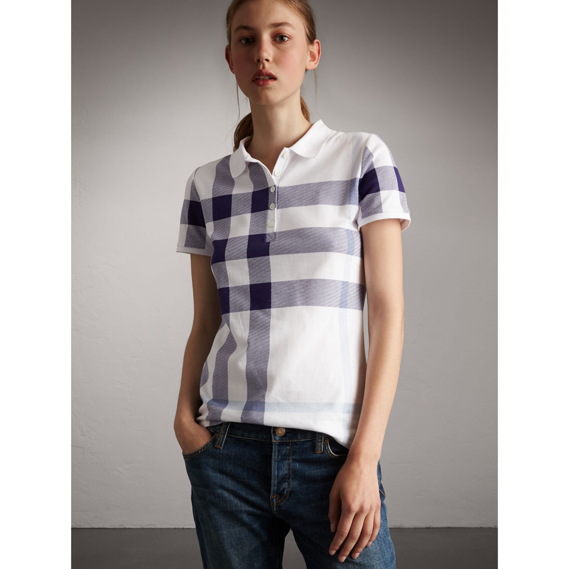 Check Stretch Cotton Piqué Polo Shirt in Pale Blue - Women | Burberry - gallery image 4