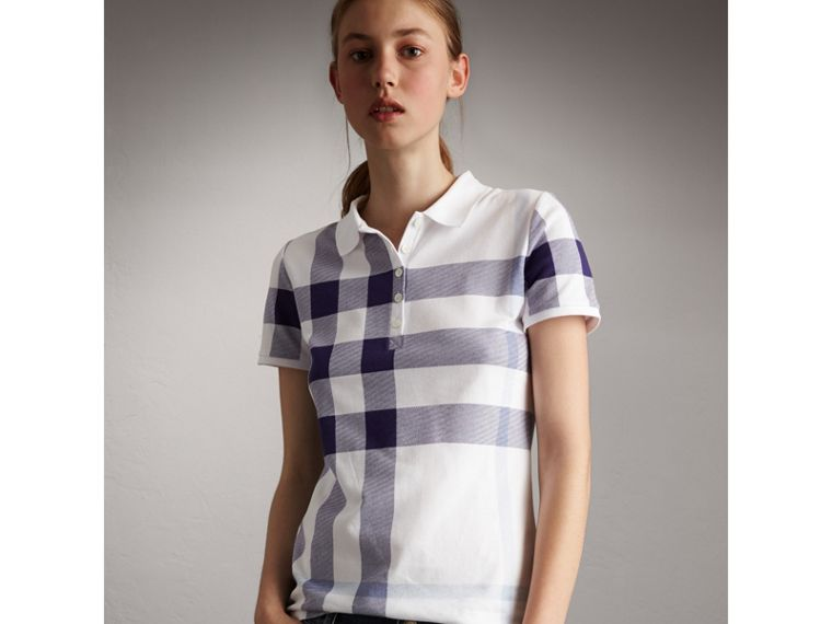 Check Stretch Cotton Piqué Polo Shirt in Pale Blue - Women | Burberry - cell image 4