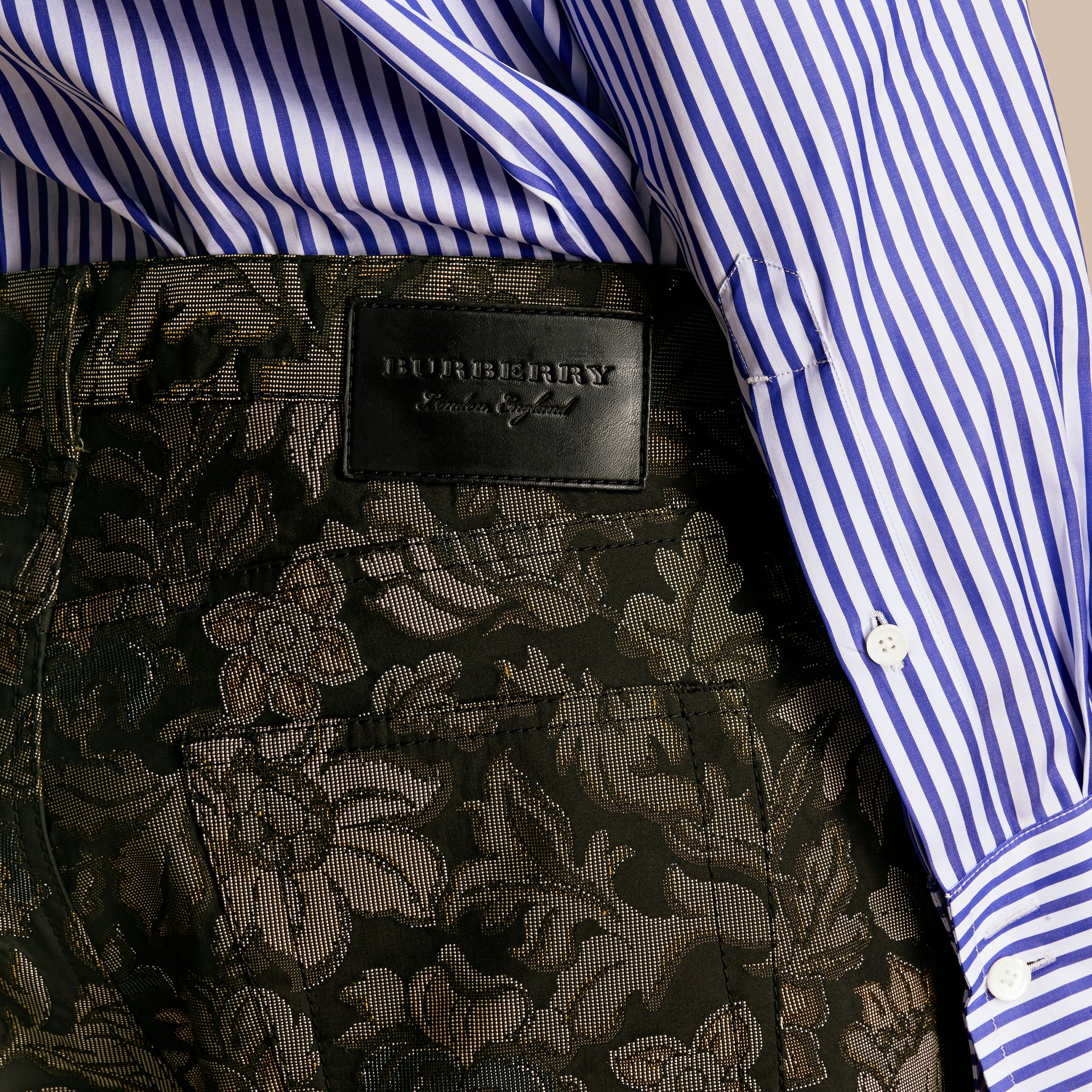 Sálvia Calças jeans com estampa floral em jacquard e corte slim Sálvia - galeria de imagens 6