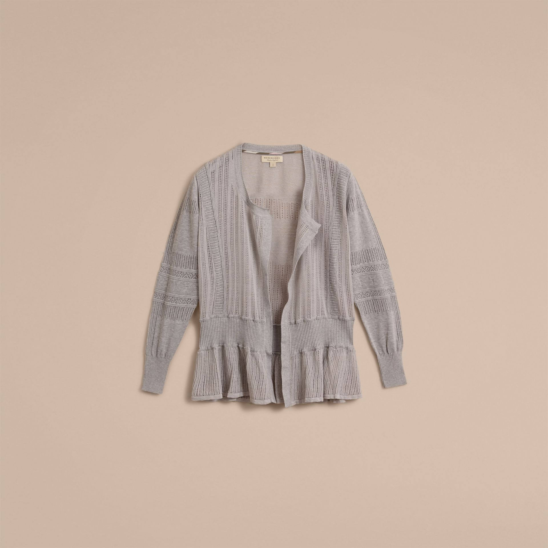 Multi-stitch Linen Silk Open Cardigan - Women | Burberry Australia - gallery image 4