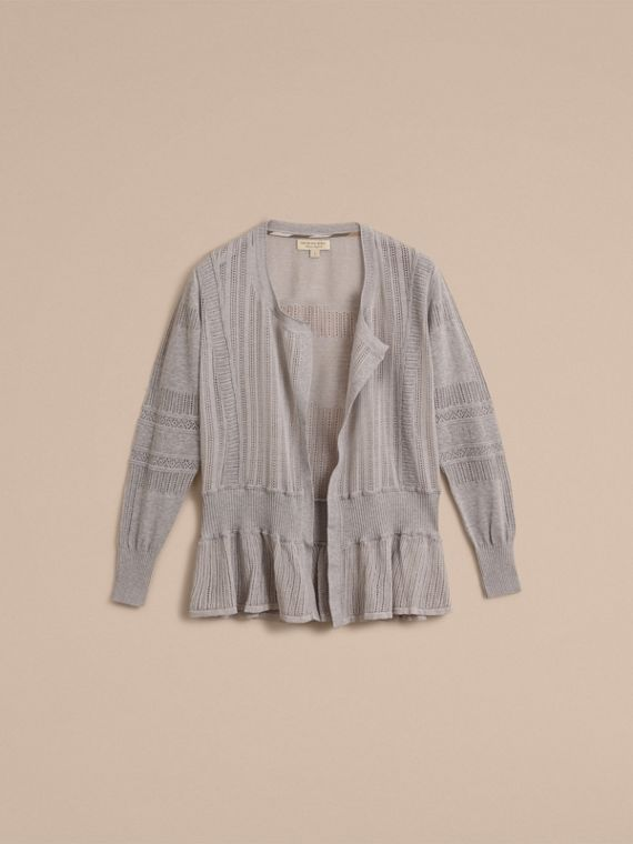 Multi-stitch Linen Silk Open Cardigan - Women | Burberry Australia - cell image 3