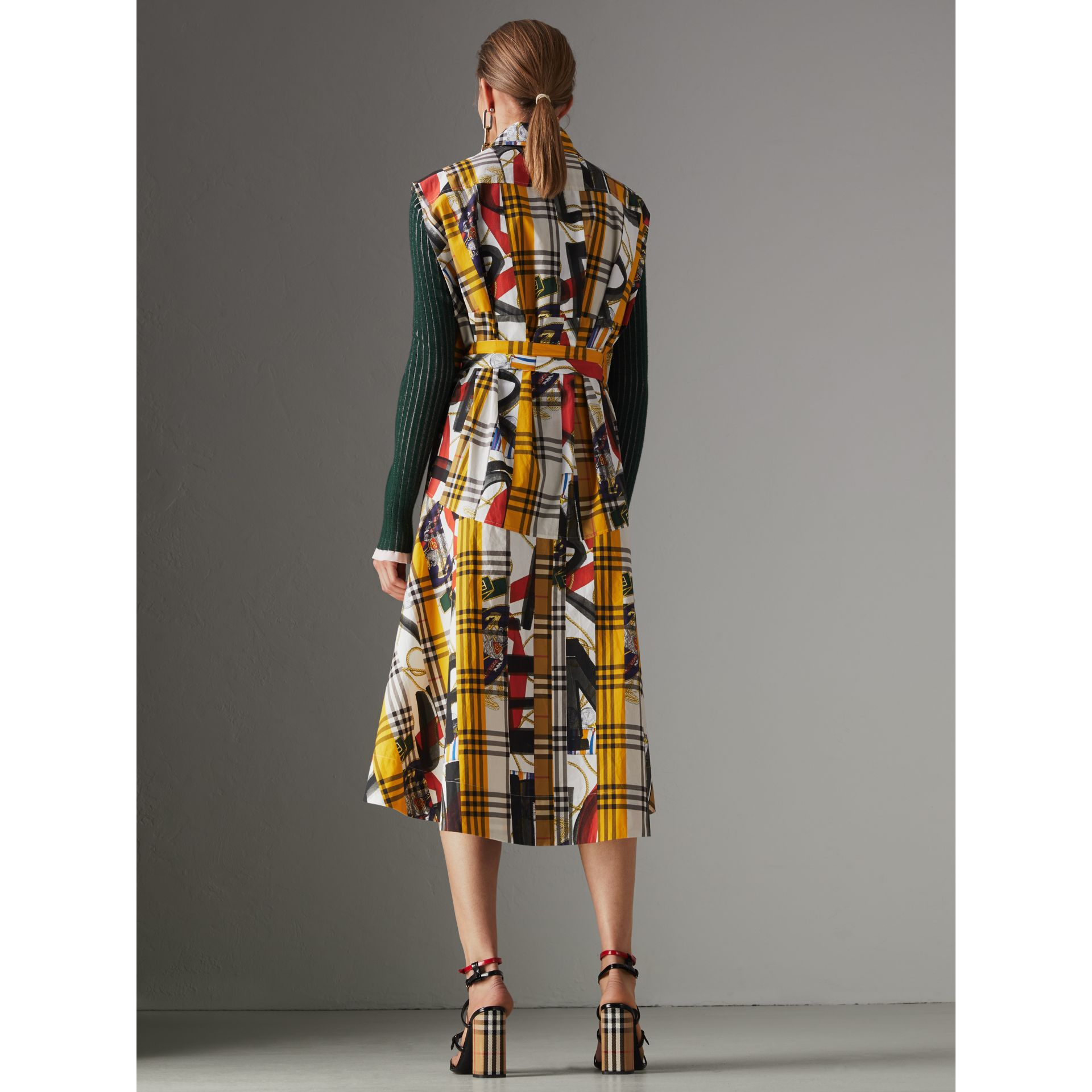 Archive Scarf Print Check Cotton Shirt Dress in Multicolour - Women | Burberry United Kingdom - gallery image 2
