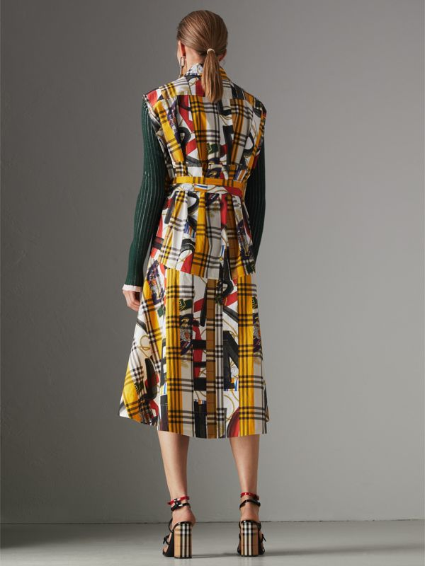 Archive Scarf Print Check Cotton Shirt Dress in Multicolour - Women | Burberry United Kingdom - cell image 2