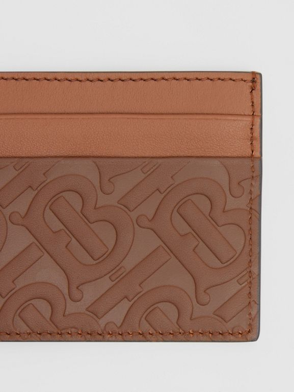 Monogram Leather Card Case in Dark Tan - Men | Burberry United Kingdom - cell image 1