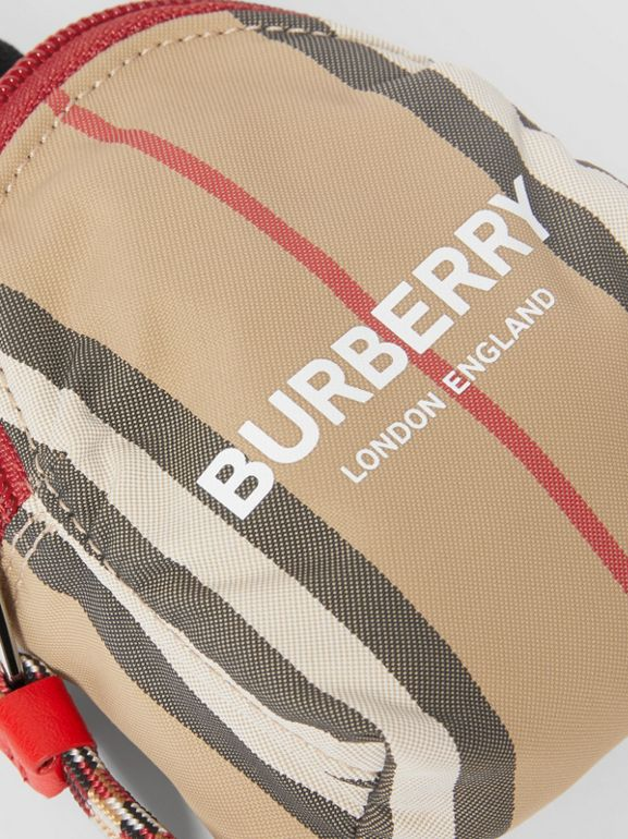 Logo Print Icon Stripe Coin Case in Archive Beige - Children | Burberry - cell image 1