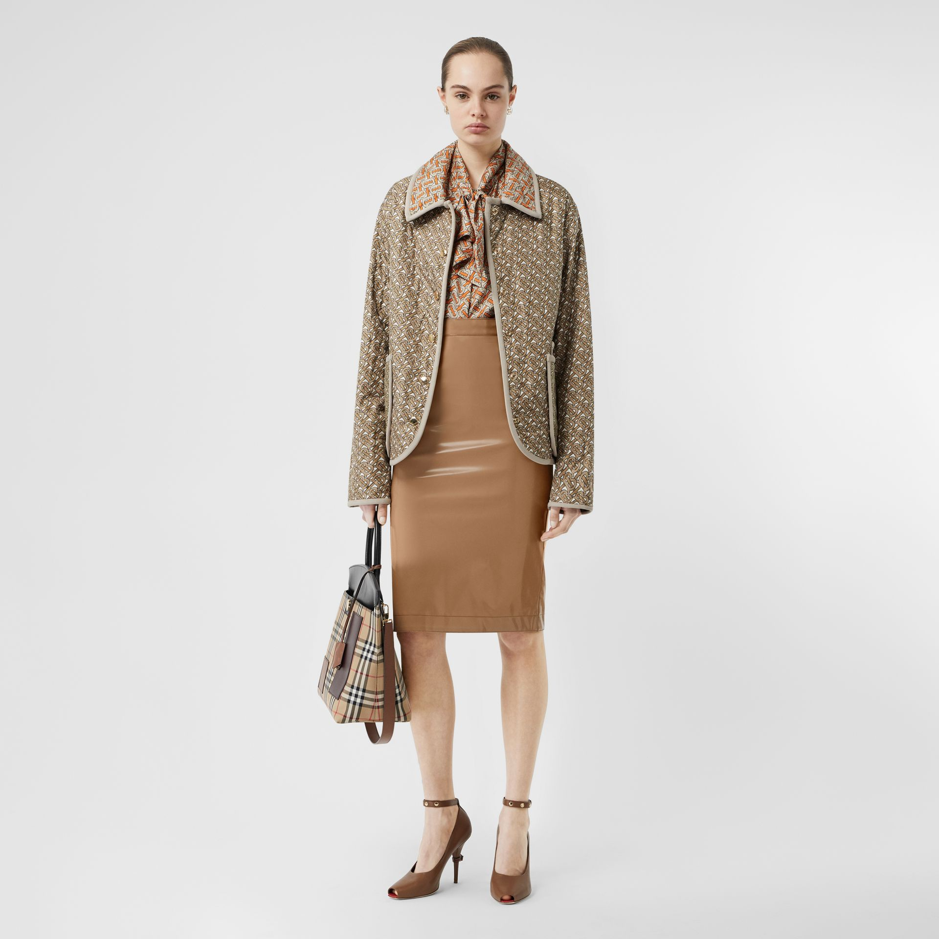 Vinyl Pencil Skirt in Utility Beige - Women | Burberry - gallery image 0